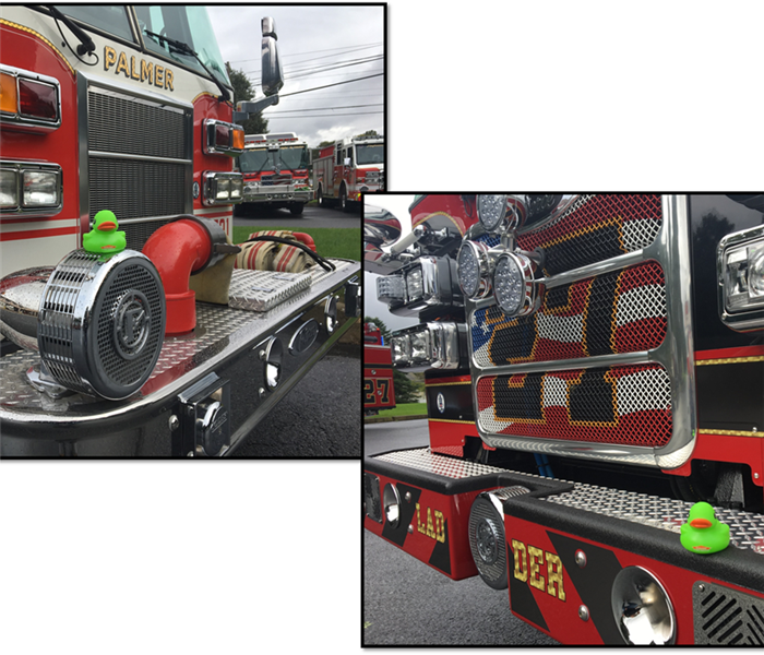 SERVPRO rubber duck on the bumper of fire engine
