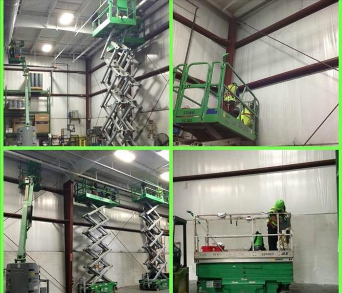 Four photos of a commercial clean project using lifts and high reach equipment