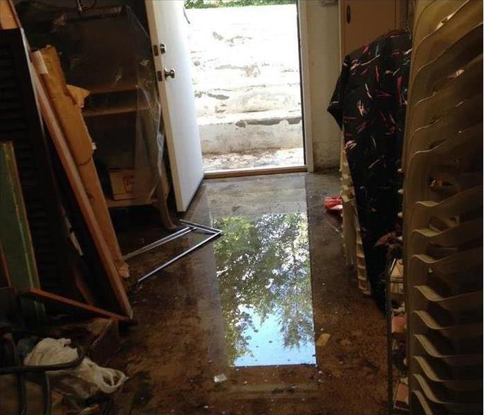Storm and water damage in a walk-out basement