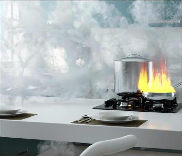 White countertop in kitchen with smoke and a stove-top fire