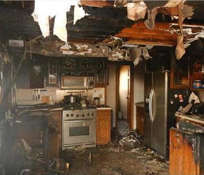 Kitchen in total disarray after a very damaging kitchen fire