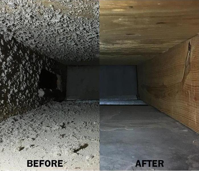 Side by side 'Before and After' photos of a duct clean