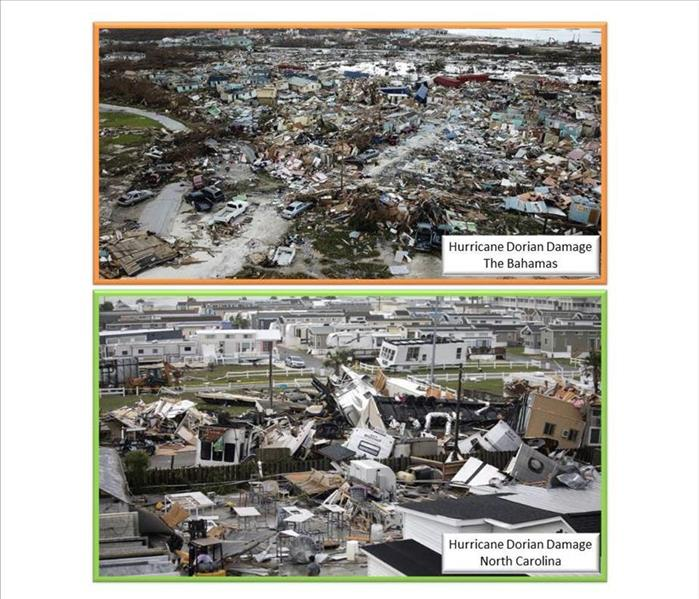 Damage from Hurricane Dorian - Top photo in the Bahamas / Bottom photo in North Carolina
