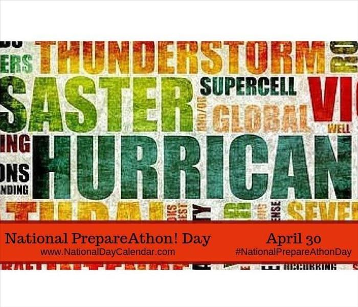 Words describing different types of weather events - National Preparedness Day advertisement