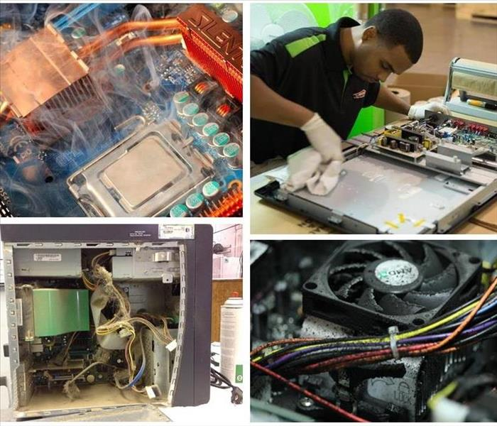 4 photo collage showing various methods of electronics cleaning