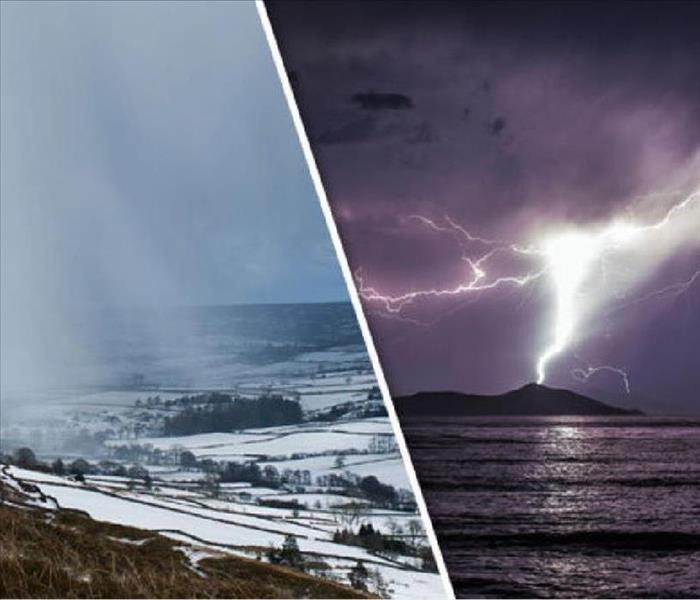 Side-by-side images of storms above large bodies of water